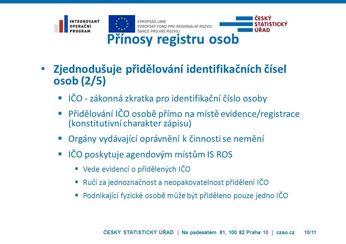 Přínosy registru osob Zjednodušuje přidělování identifikačních čísel osob (2/5) IČO - zákonná zkratka pro identifikační číslo osoby.