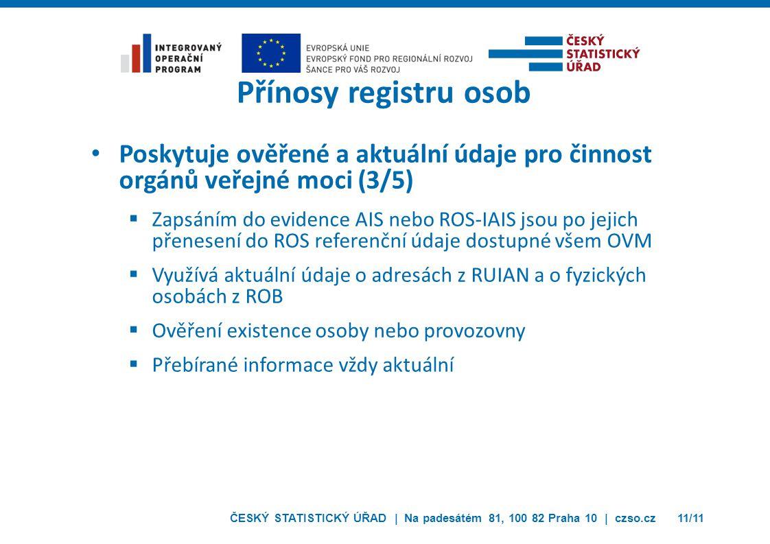 Přínosy registru osob Poskytuje ověřené a aktuální údaje pro činnost orgánů veřejné moci (3/5)