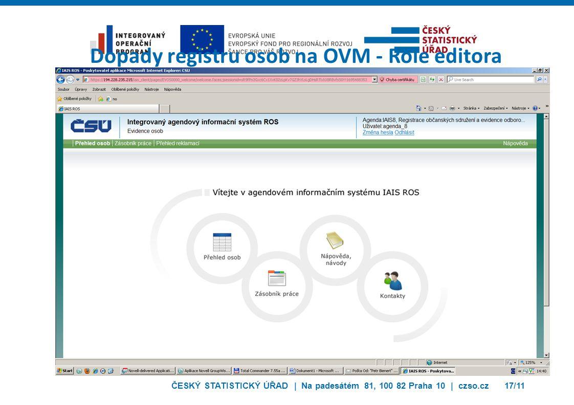 Dopady registru osob na OVM - Role editora