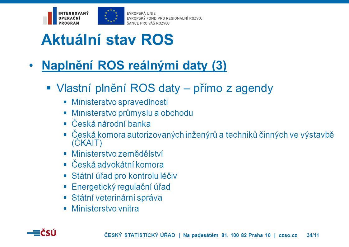 Aktuální stav ROS Naplnění ROS reálnými daty (3)