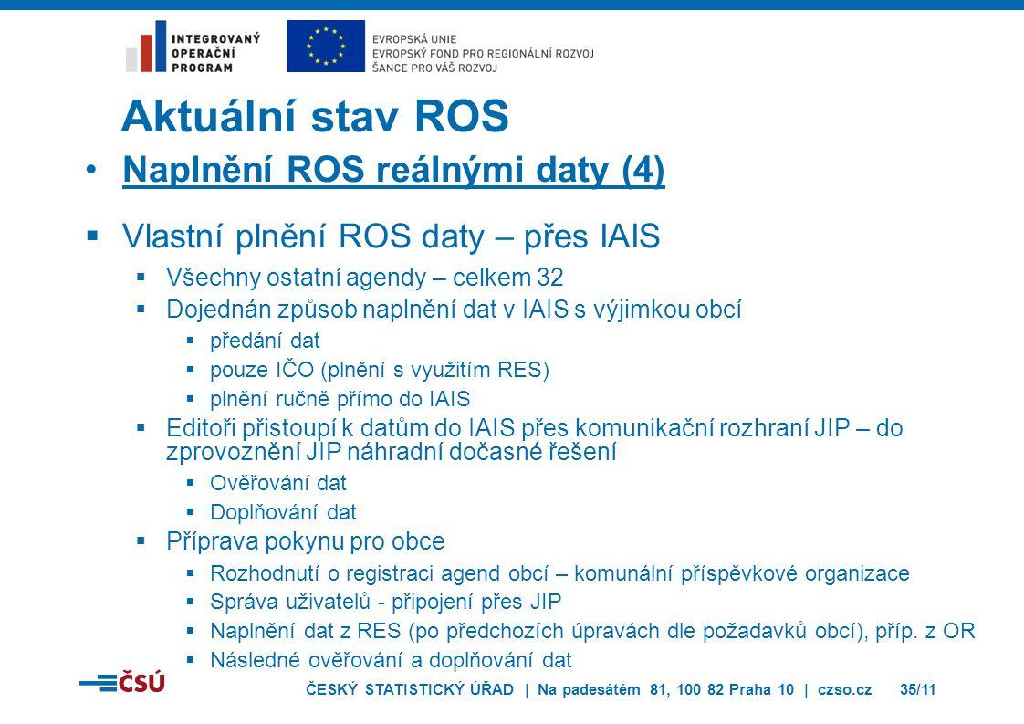 Aktuální stav ROS Naplnění ROS reálnými daty (4)