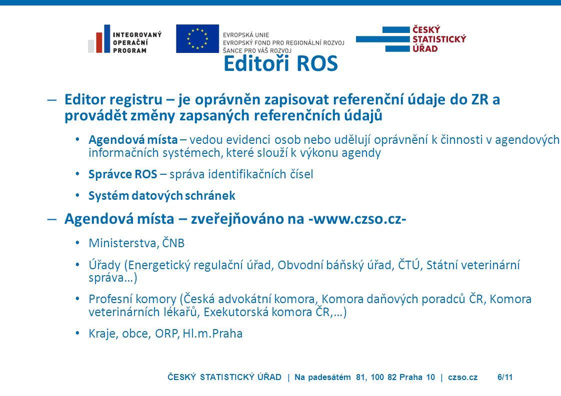 Editoři ROS Editor registru – je oprávněn zapisovat referenční údaje do ZR a provádět změny zapsaných referenčních údajů.