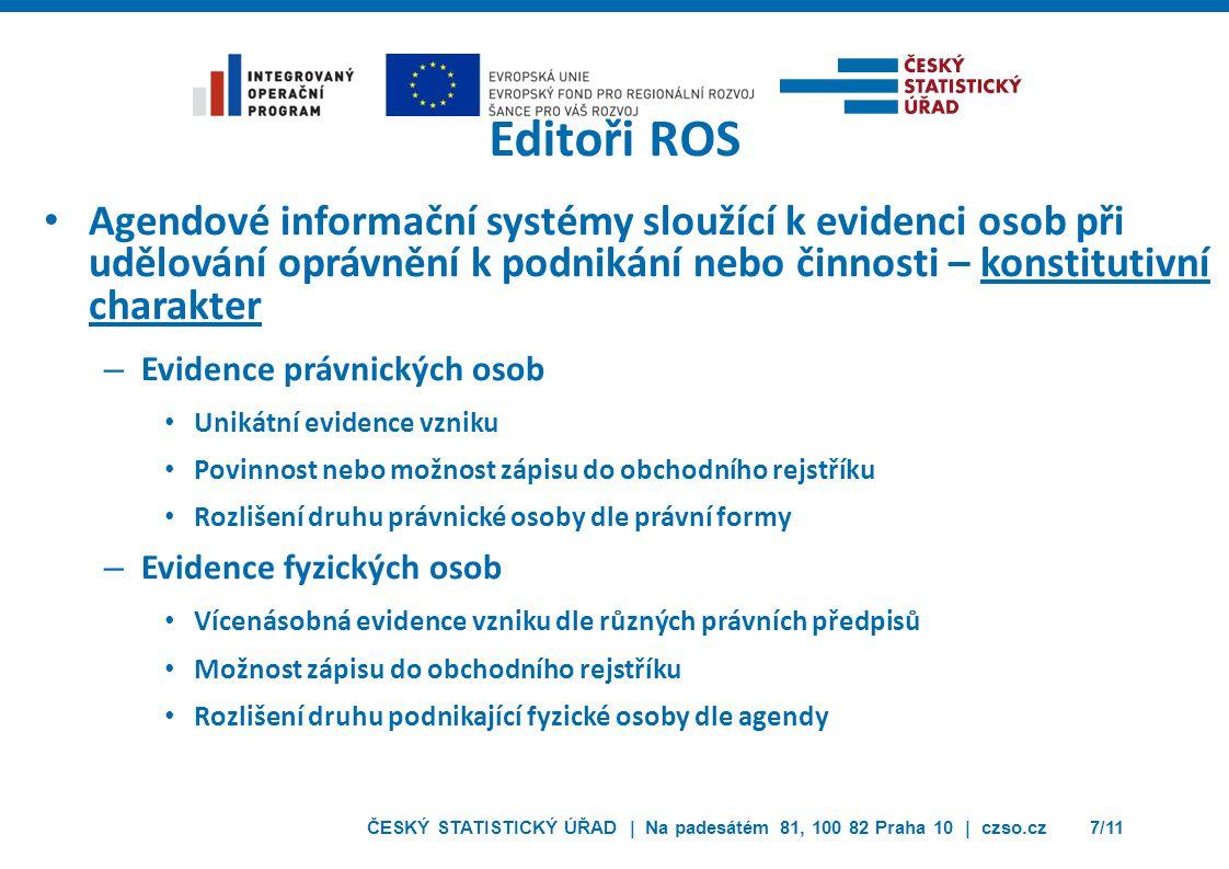 Editoři ROS Agendové informační systémy sloužící k evidenci osob při udělování oprávnění k podnikání nebo činnosti – konstitutivní charakter.