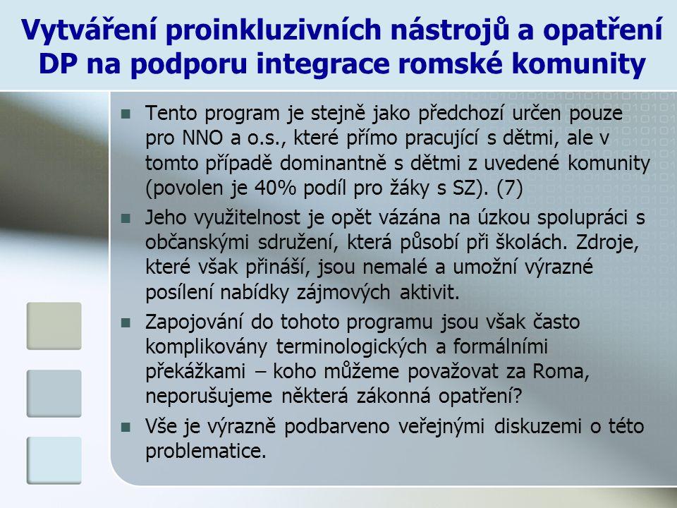Vytváření proinkluzivních nástrojů a opatření DP na podporu integrace romské komunity