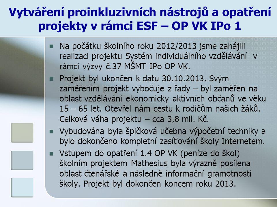 Vytváření proinkluzivních nástrojů a opatření projekty v rámci ESF – OP VK IPo 1
