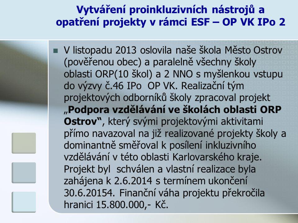 Vytváření proinkluzivních nástrojů a opatření projekty v rámci ESF – OP VK IPo 2