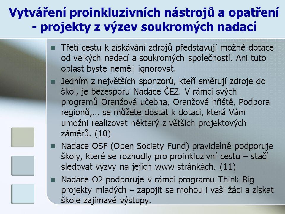 Vytváření proinkluzivních nástrojů a opatření - projekty z výzev soukromých nadací
