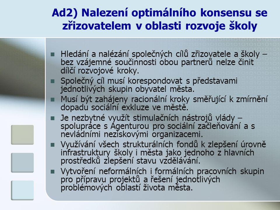 Ad2) Nalezení optimálního konsensu se zřizovatelem v oblasti rozvoje školy