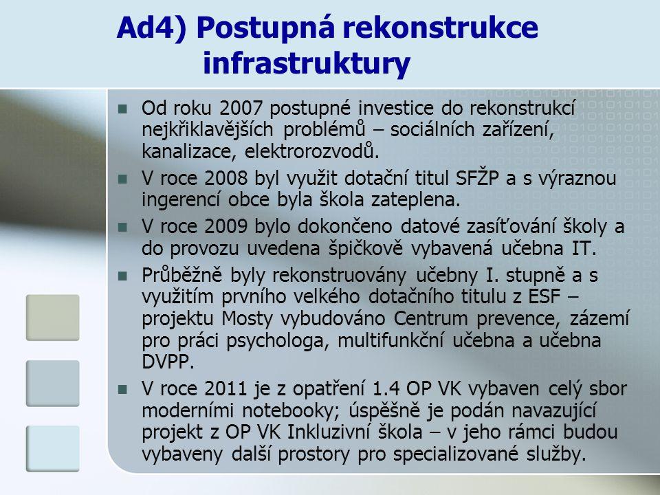 Ad4) Postupná rekonstrukce infrastruktury