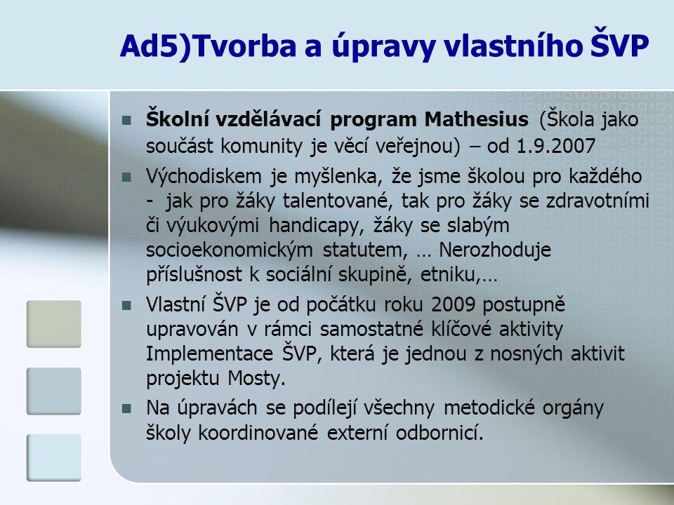 Ad5)Tvorba a úpravy vlastního ŠVP