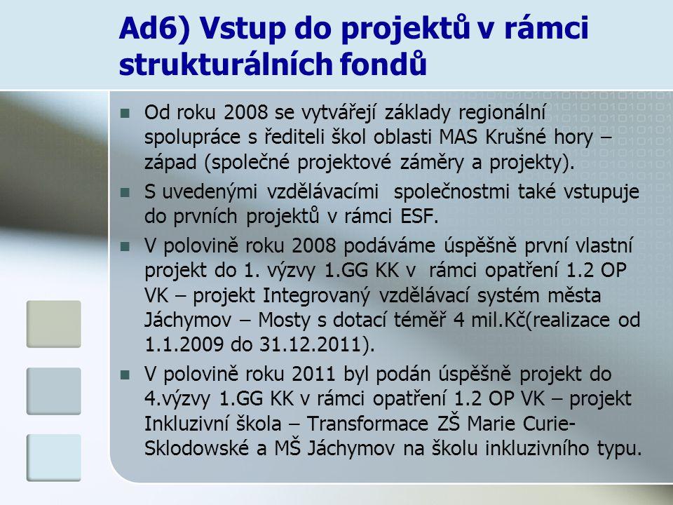 Ad6) Vstup do projektů v rámci strukturálních fondů