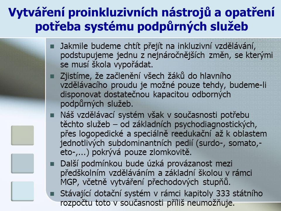 Vytváření proinkluzivních nástrojů a opatření potřeba systému podpůrných služeb