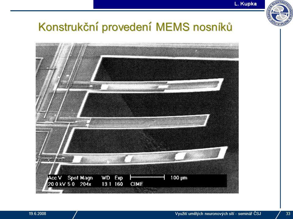 Konstrukční provedení MEMS nosníků