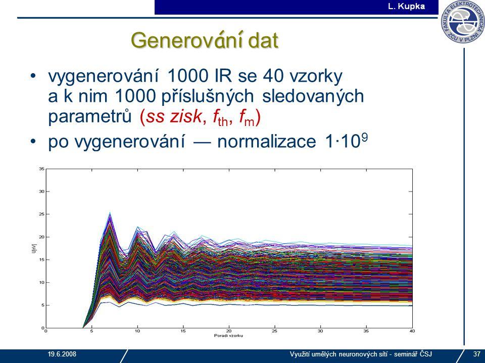 Generování dat vygenerování 1000 IR se 40 vzorky a k nim 1000 příslušných sledovaných parametrů (ss zisk, fth, fm)