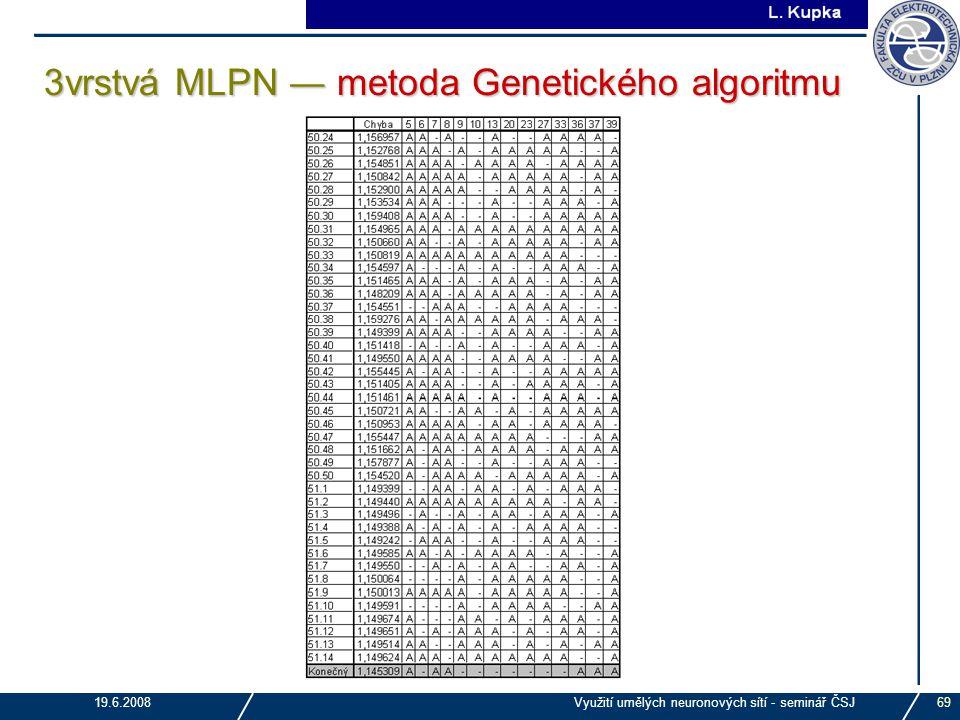 3vrstvá MLPN ― metoda Genetického algoritmu