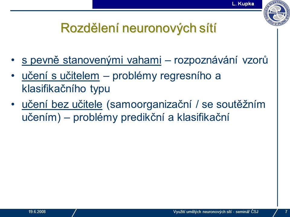Rozdělení neuronových sítí