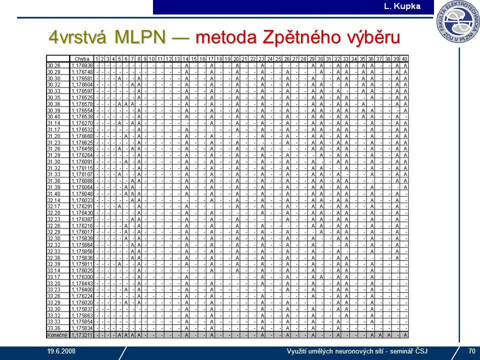 4vrstvá MLPN ― metoda Zpětného výběru
