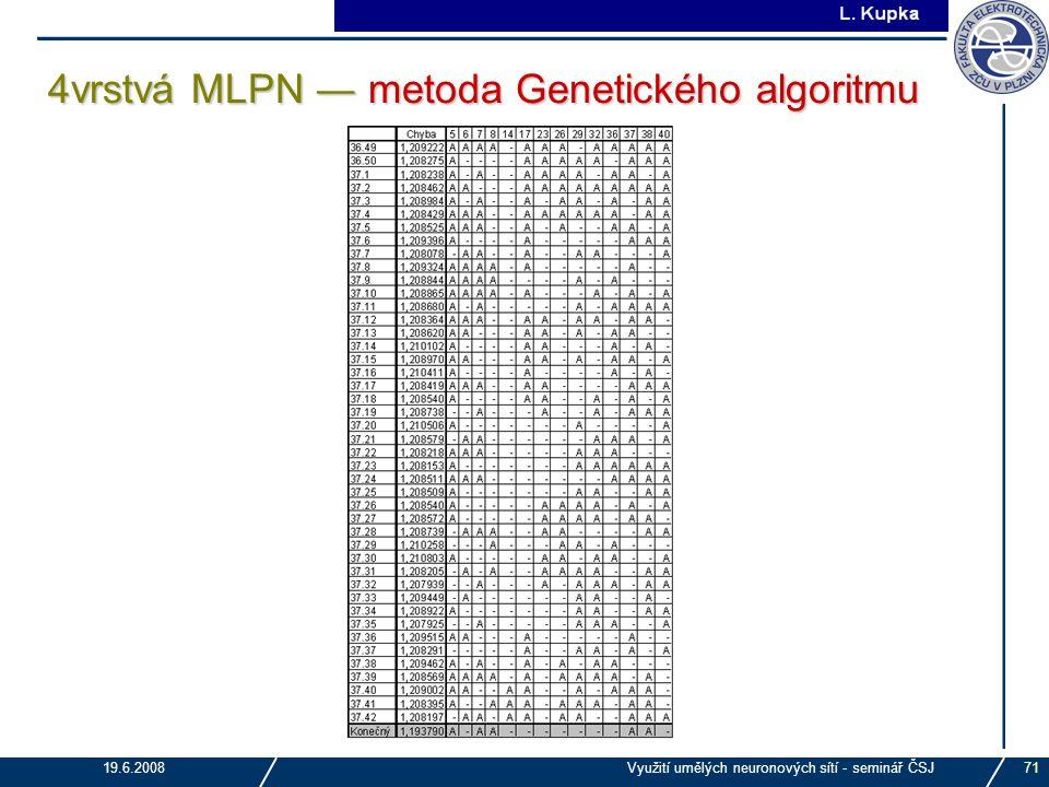 4vrstvá MLPN ― metoda Genetického algoritmu