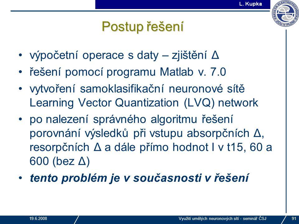 Postup řešení výpočetní operace s daty – zjištění Δ
