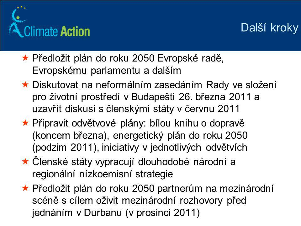Další kroky Předložit plán do roku 2050 Evropské radě, Evropskému parlamentu a dalším.