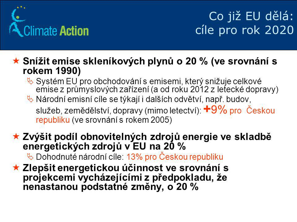Co již EU dělá: cíle pro rok 2020