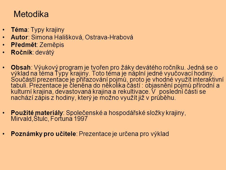 Metodika Téma: Typy krajiny Autor: Simona Hališková, Ostrava-Hrabová