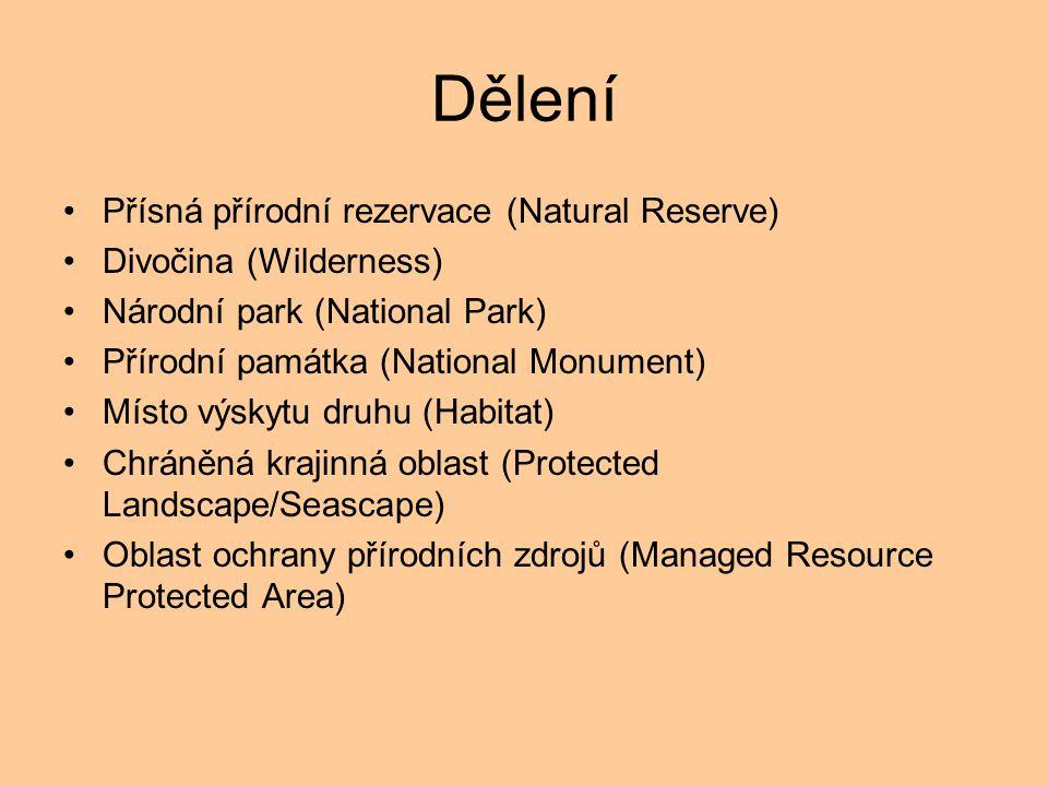 Dělení Přísná přírodní rezervace (Natural Reserve)