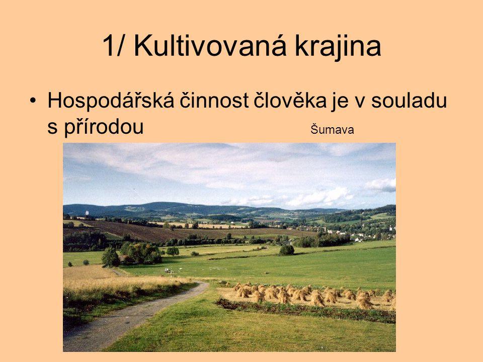 1/ Kultivovaná krajina Hospodářská činnost člověka je v souladu s přírodou Šumava.
