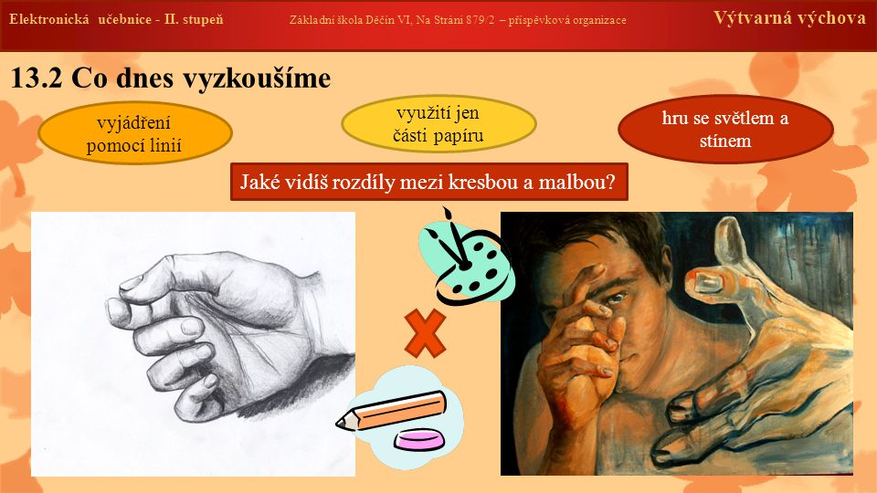 13.2 Co dnes vyzkoušíme Jaké vidíš rozdíly mezi kresbou a malbou