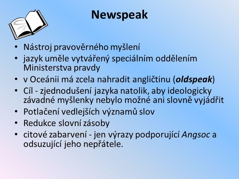 Newspeak Nástroj pravověrného myšlení