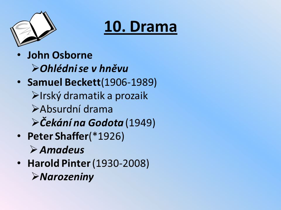 10. Drama John Osborne Ohlédni se v hněvu Samuel Beckett(1906-1989)