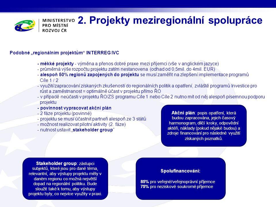 2. Projekty meziregionální spolupráce