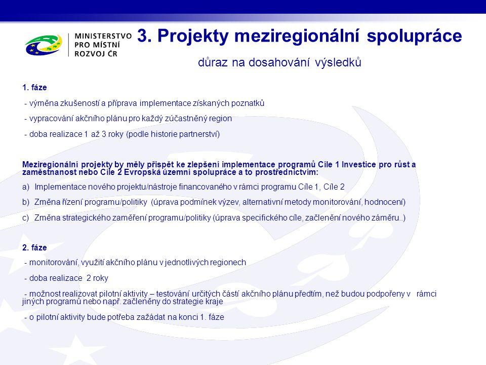 3. Projekty meziregionální spolupráce