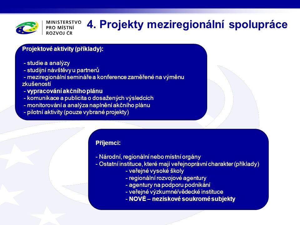 4. Projekty meziregionální spolupráce