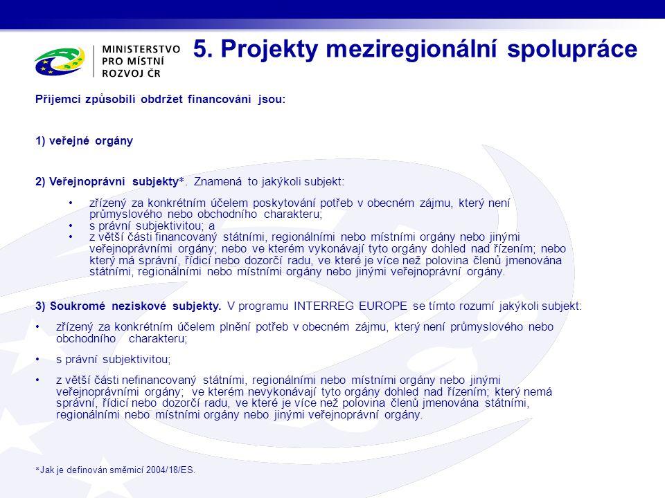 5. Projekty meziregionální spolupráce