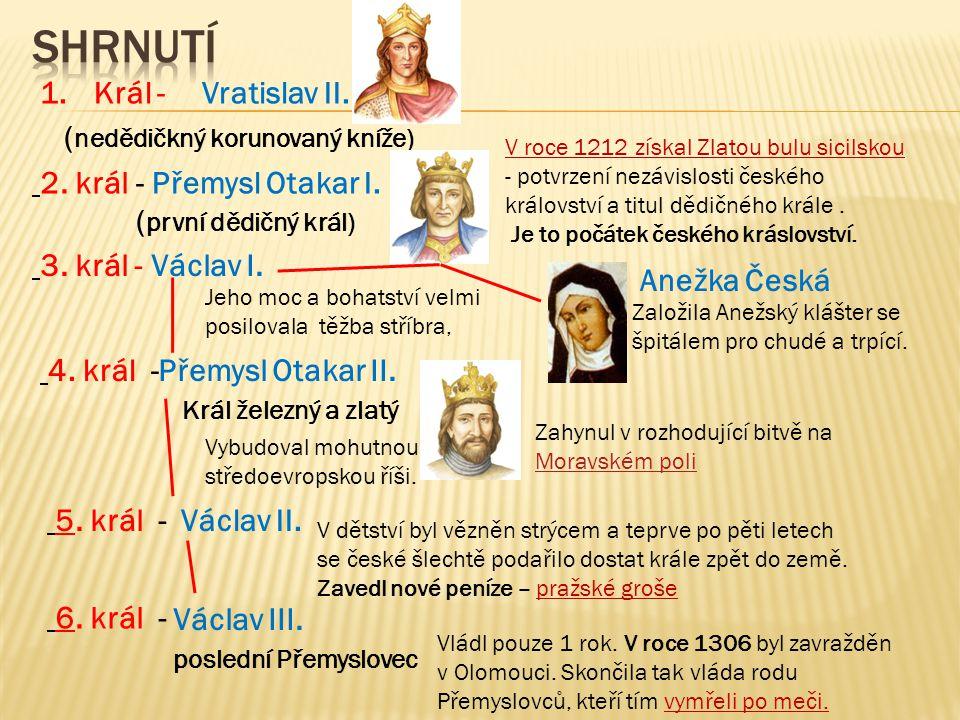shrnutí (nedědičkný korunovaný kníže) Vratislav II. Král - 2. král