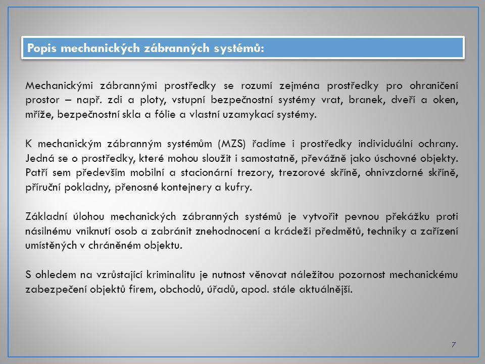 Popis mechanických zábranných systémů: