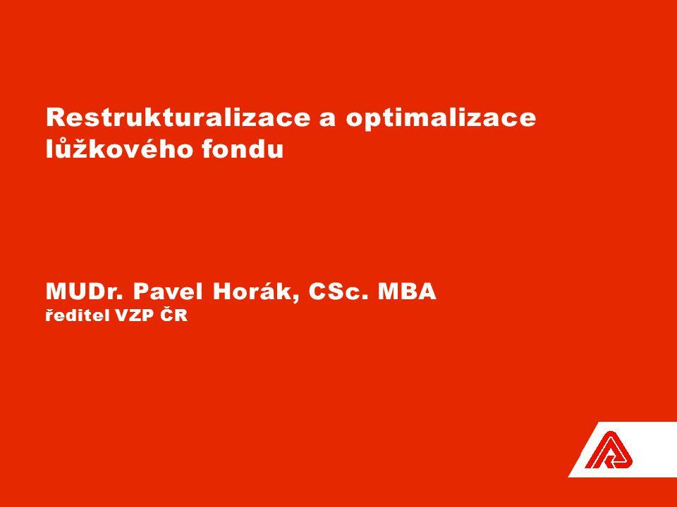 Restrukturalizace a optimalizace lůžkového fondu MUDr. Pavel Horák, CSc. MBA ředitel VZP ČR