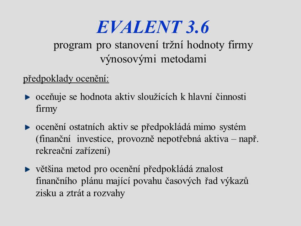 EVALENT 3.6 program pro stanovení tržní hodnoty firmy výnosovými metodami