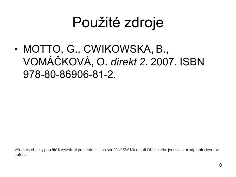 Použité zdroje MOTTO, G., CWIKOWSKA, B., VOMÁČKOVÁ, O. direkt 2. 2007. ISBN 978-80-86906-81-2.