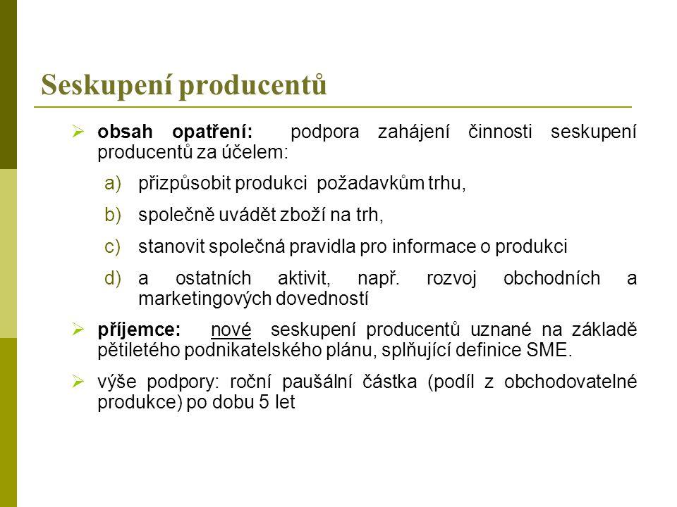 Seskupení producentů obsah opatření: podpora zahájení činnosti seskupení producentů za účelem: přizpůsobit produkci požadavkům trhu,