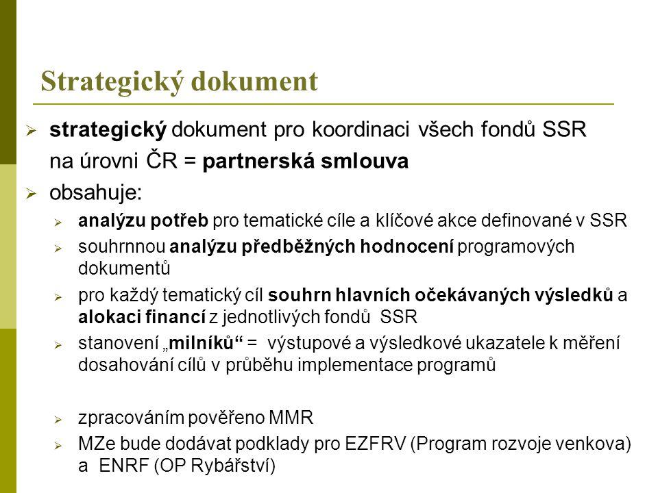 Strategický dokument strategický dokument pro koordinaci všech fondů SSR. na úrovni ČR = partnerská smlouva.