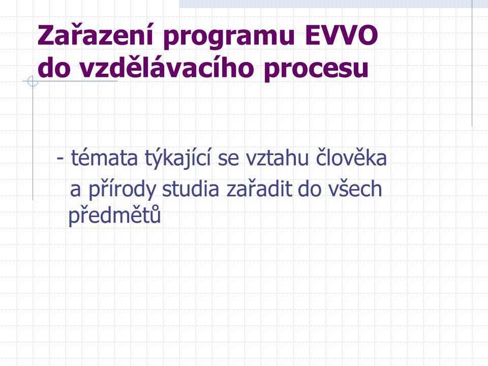 Zařazení programu EVVO do vzdělávacího procesu