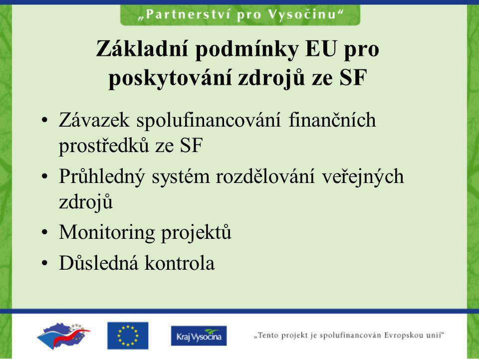 Základní podmínky EU pro poskytování zdrojů ze SF