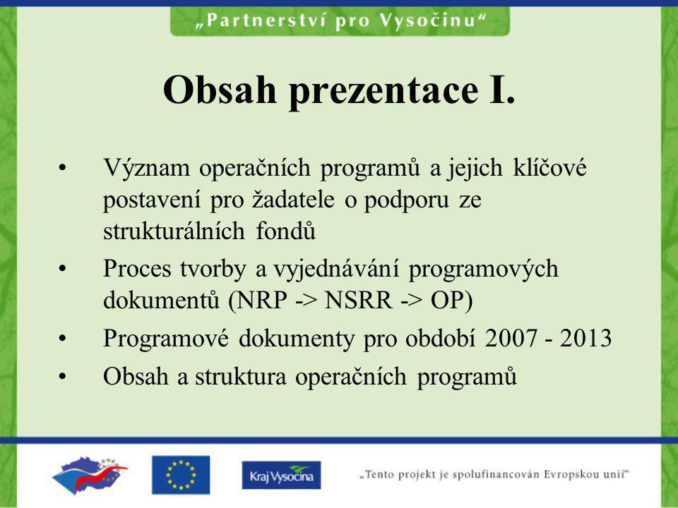 Obsah prezentace I. Význam operačních programů a jejich klíčové postavení pro žadatele o podporu ze strukturálních fondů.
