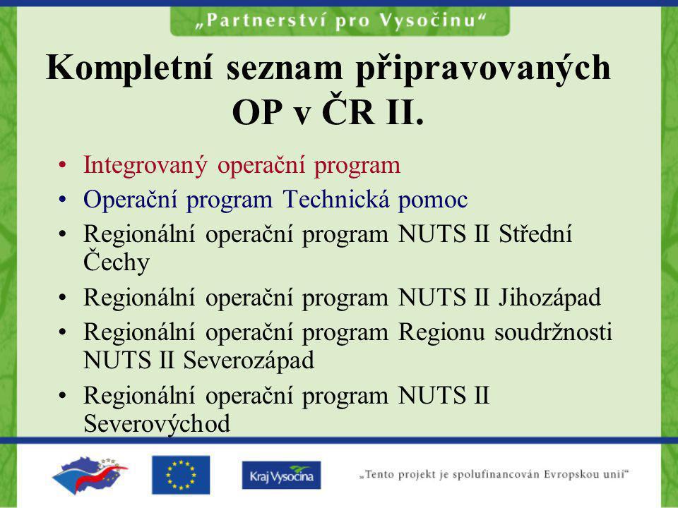 Kompletní seznam připravovaných OP v ČR II.