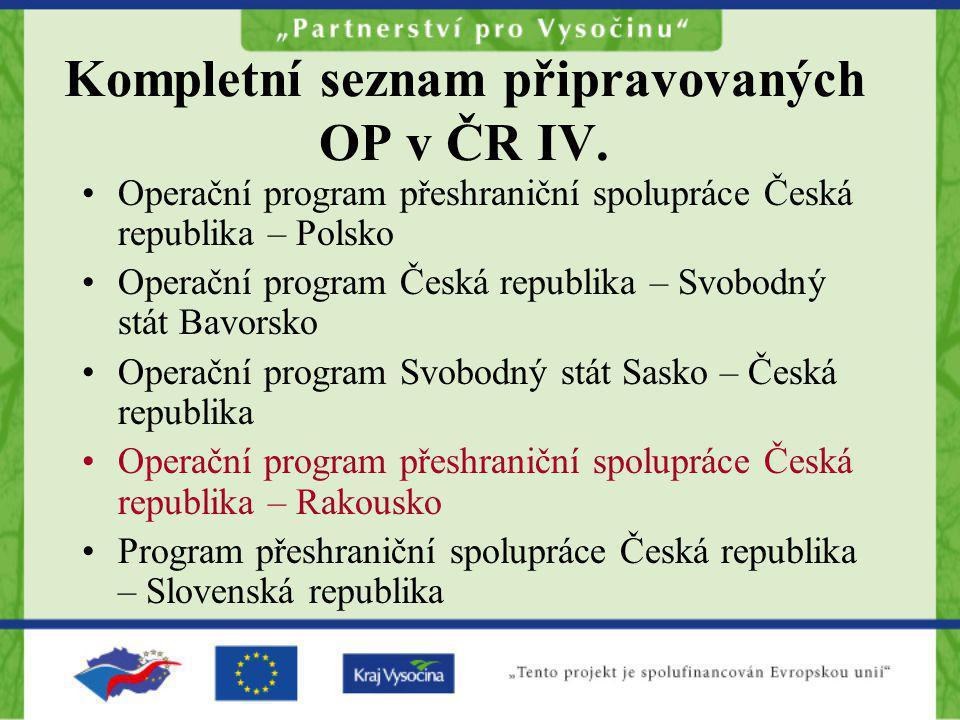 Kompletní seznam připravovaných OP v ČR IV.
