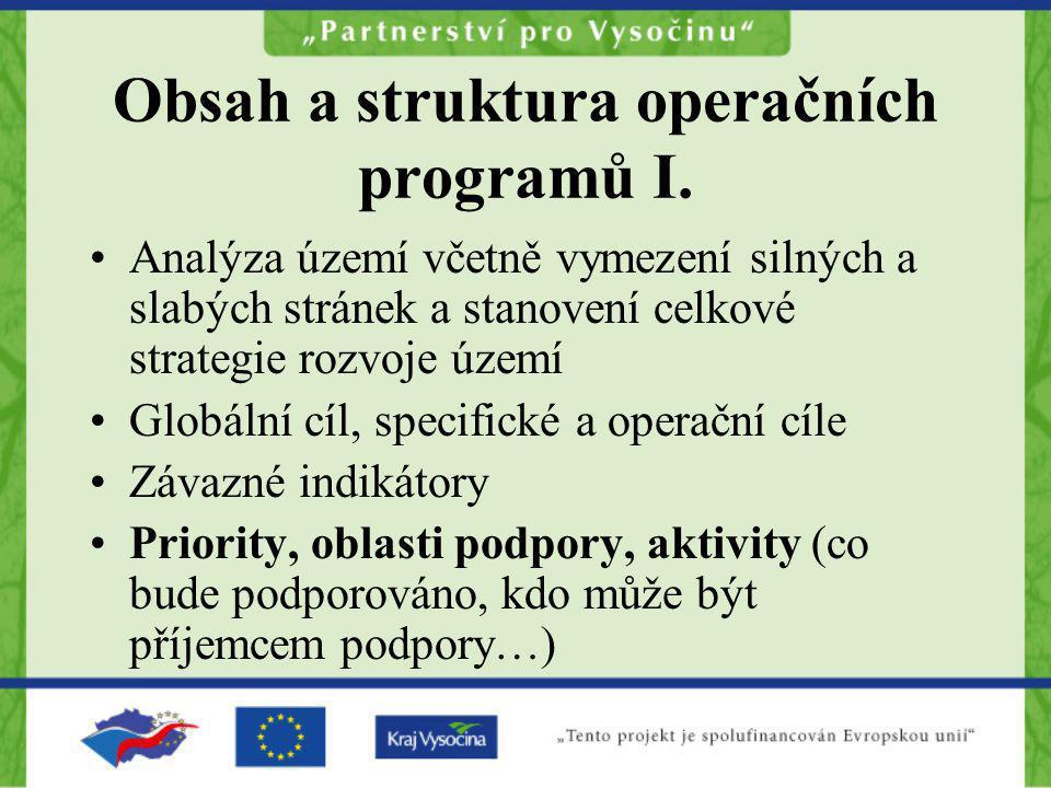 Obsah a struktura operačních programů I.