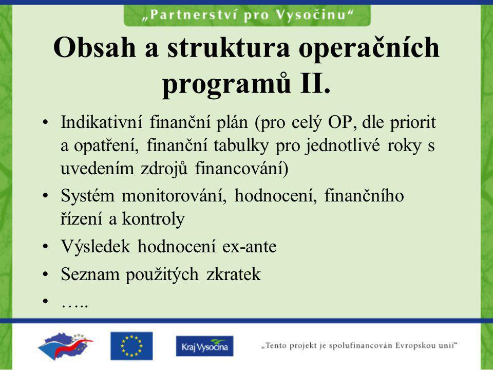 Obsah a struktura operačních programů II.