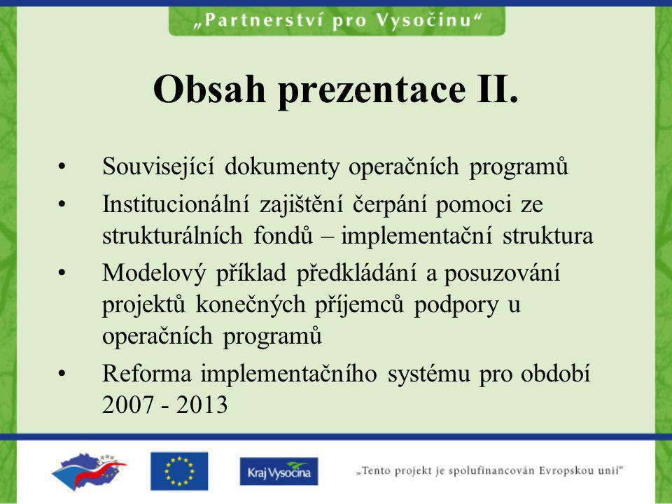 Obsah prezentace II. Související dokumenty operačních programů